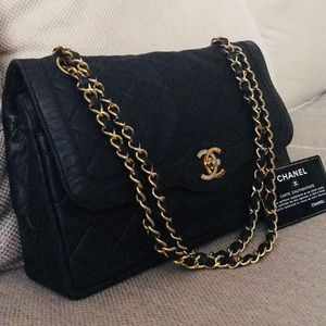 Authentic CHANEL Lambskin Double Flap Diana Bag